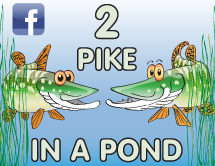 2 Pike in a Pond Cartoon Richard Gill Tarn Graphics