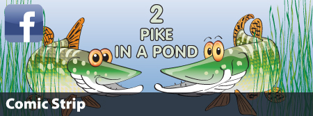 2 Pike in a Pond Cartoon